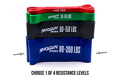 Shogun Sports Pull Up Assist Bands – Heavy Duty Resistance & Stretch Band. Ideal for Pull-up Assistance, Body Stretching, Power-lifting, Resistance Training. 4 Resistance Levels Available (80-200 LBS)