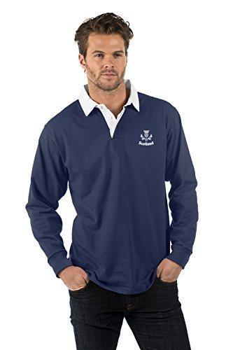 Schottland Thistle Aufgeld Langarm Rugby Hemd - Scotland Thistle Long Sleeve Rugby Shirt - Herren & Damen - Farbe Marine Blau - XS bis 2XL BCLR-NVY-SCTTHS