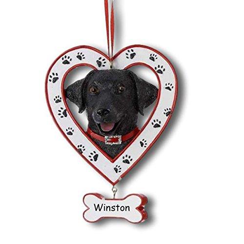 Kurt Adler Personalized Black Labrador Retriever Heart Paw Print Pet Christmas Ornament with Name - 3.25 (Black Lab Ornament)