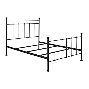 Pulaski Shaker Style All-In-One Metal Bed, Queen, Black