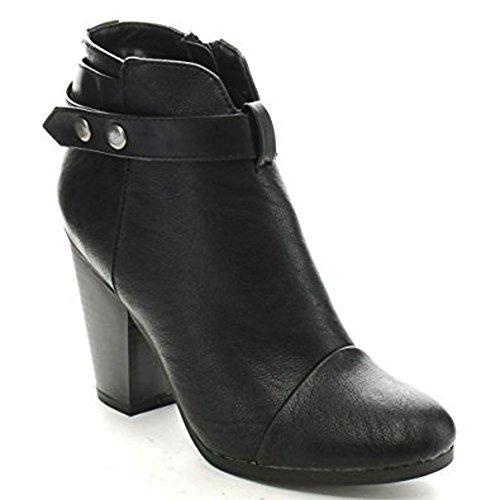 Breckelles Gail-22 Donna Con Cinturino Grosso Tallone Accatastato Stivaletti Alla Caviglia Nero Ts