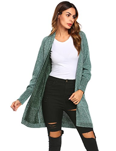 Drape Kimono Off Shoulder - Unibelle Womens Kimono Casual Open Front Long Drape Cardigan (Dark Green, L)