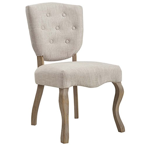 Modway Array Vintage French Weathered Wood Dining Side Chair in Beige