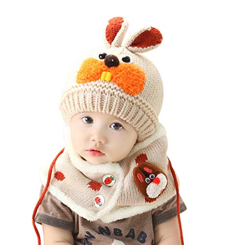 52d9f6050ee Baby Cute Warm Knitted Beanie Hat and Circle Snood Scarf Wool Crochet Knit  Hat Scarf Set ...