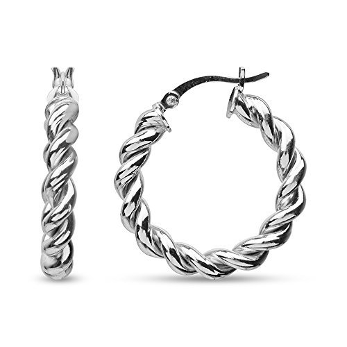 (LeCalla Sterling Silver Jewelry Round Twisted Tube Italian Design Rhodium Plated Hoop Earring for Women)