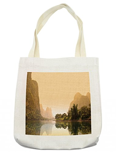Lunarable Asian Tote Bag, Famous Tourist Attractions of Guangxi China Foggy Trees Reflection Panoramic, Cloth Linen Reusable Bag for Shopping Groceries Books Beach Travel & More, (Tourist Costume Makeup)