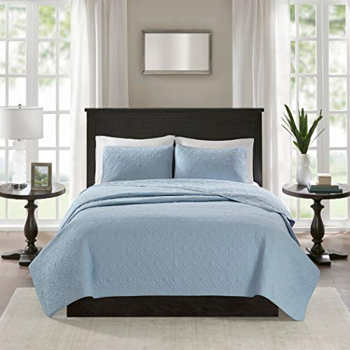 3 Piece 104 x 94 Extra Wide Light Blue Quilted Coverlet King Set, Oversized Bedding French Country Classic Stitched Lightweight Summer Light Blue Drops Over Edge of Mattress, Microfiber Polyester ()