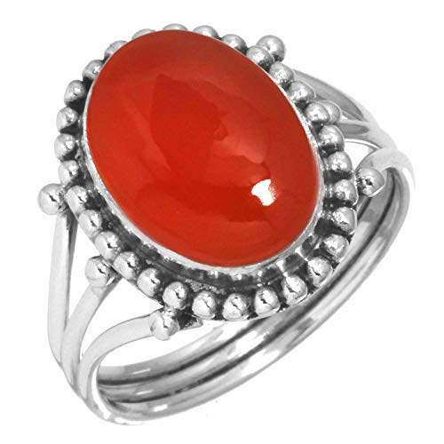 Natural Carnelian Women Jewelry 925 Sterling Silver Ring Size 8