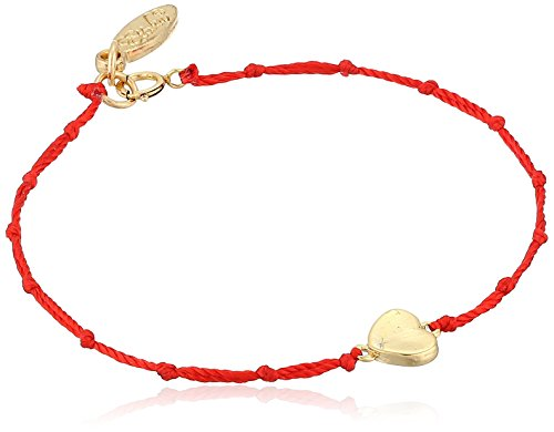 Ettika Red Knotted Silk Thread Bracelet with Gold-Tone Heart Charm, -