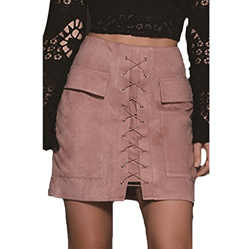 MUMUBREAL Women's Vintage Mini Skirt Lace Up Bodycon Faux Suede Skirts with Pocket Large Pink