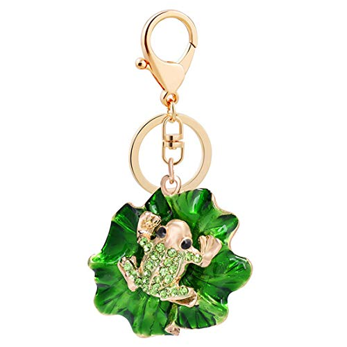 Jzcky Shzrp Cute Frog Crystal Rhinestone Keychain Key Chain Sparkling Key Ring Charm Purse Pendant Handbag Bag Decoration Holiday ()