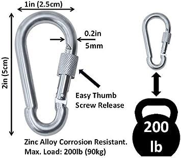 200-400lb Load Branded Boards Heavy Duty Thumb Screw Locking Zinc-Galvanized Steel Carabiner Spring Snap Clip Link Hooks 6 Packs /& 12 Packs