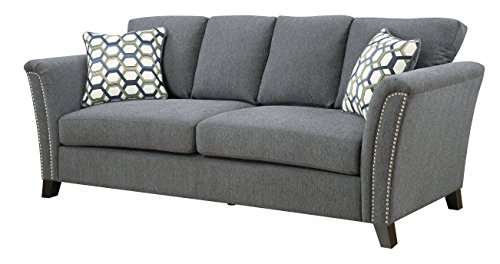 Furniture of America Heyer Contemporary Sofa with Pillows, Gray - Contemporary style; Upholstered in Gray fabric Built with solid wood and veneer construction; Cushions are filled with Dacron-wrapped high-density foam Removable seat cushions; Sinuous no-sag springs to ensure total comfort - sofas-couches, living-room-furniture, living-room - 41KWqhQqvML -