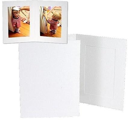 Amazon.com: White cardboard double photo folder frame w/plain border ...