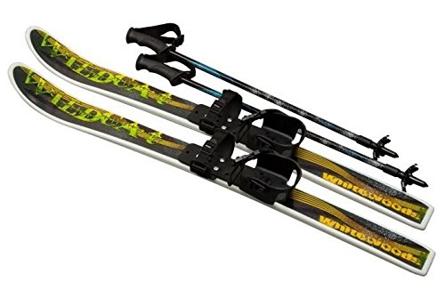 New Whitewoods Wildcat 95cm Junior Waxless Cross Country Backyard Ski Set with Poles, Ages 4 8