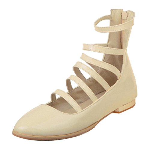 Pumps Zipper Shoes Fashion Women's TAOFFEN Beige EqUwYgnx