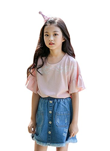 ACVIP Girl's Denim Abrased Brim Pockets Buttons Decorated Elastic Skirt (8-9 Years) by ACVIP (Image #1)