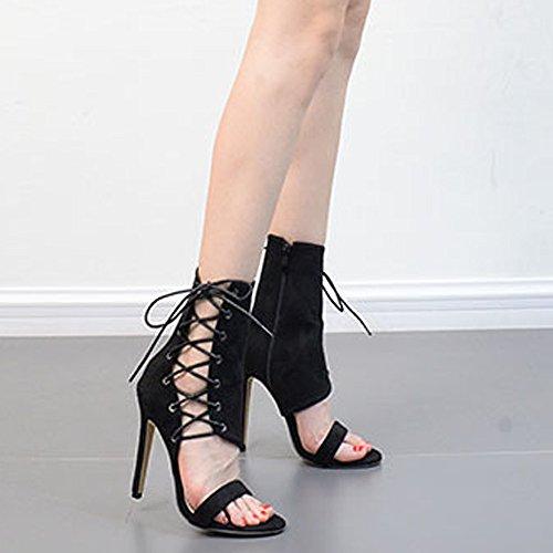 Fashion Buckle Stivaletti Donna heeled Sandali Alti High Sexy Neri Strap Roman Rawdah Shoes Tacchi dqawUI17Ix