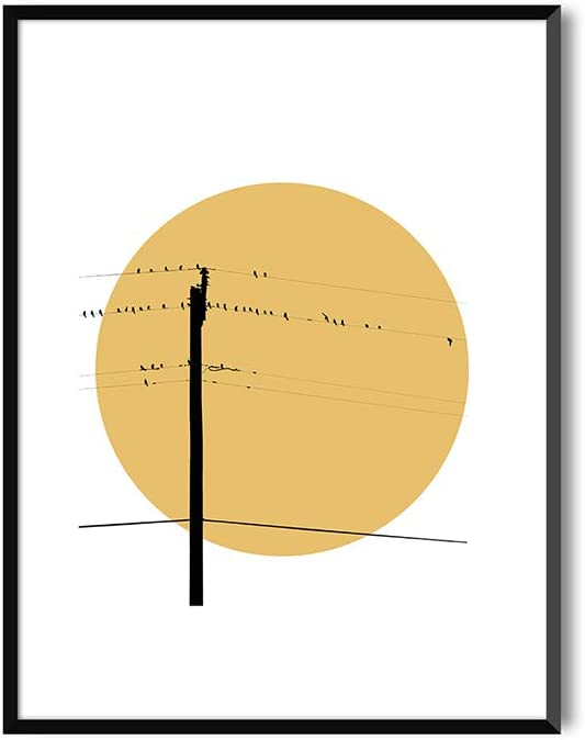 MILUKA Láminas Decorativas para enmarcar colección Birds AT Sunset | Summer Sunset | Tamaño 20x30cm, 30x40cm, 50x70cm (30 x 40 cm)