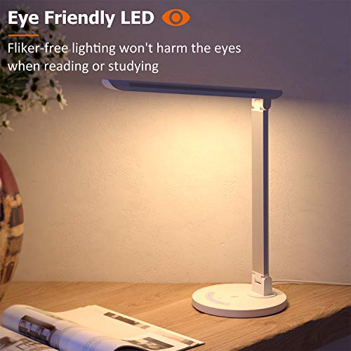 TaoTronics LED Desk Lamp Eyecaring Table Lamps Dimmable Office Lamp with USB Charging Port 5