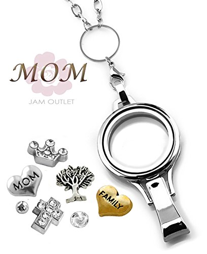 MOM Memory Locket Lanyard ID Badge Holder Set, Rolo Chain, Mother Floating Charms, Gift Box (Gold Charm Mom Holder)