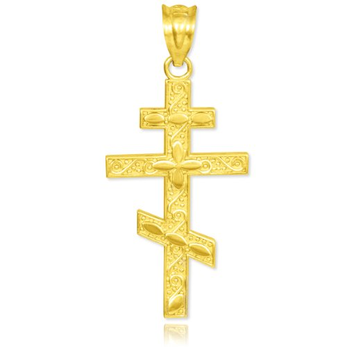 10k Yellow Gold Russian Orthodox Cross Pendant