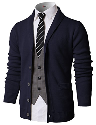 H2H Mens Casual Slim Fit V-Neck Button-Front Shawl Collar Sweater Navy US L/Asia L (KMOCAL0175)