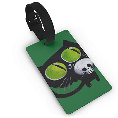 Luggage Tags Holders for Travel Luggage,Luggage Tags for Suitcases, Luggage Tag Black Halloween Cat with Skull Luggage Tag Suitcase Suitcase Label Bag -