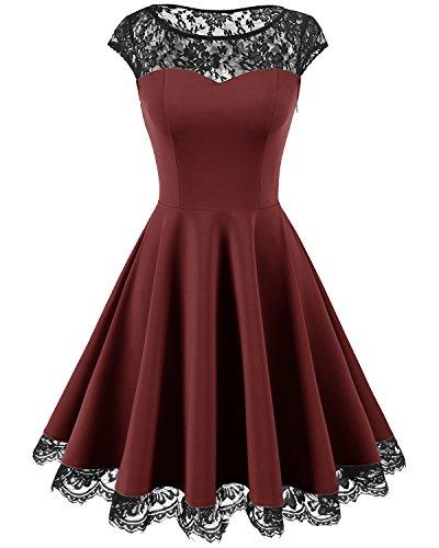 Homrain Women's Vintage 1950s Floral Lace Scoop Neck Cap Sleeve Cocktail Party Dress Burgundy -
