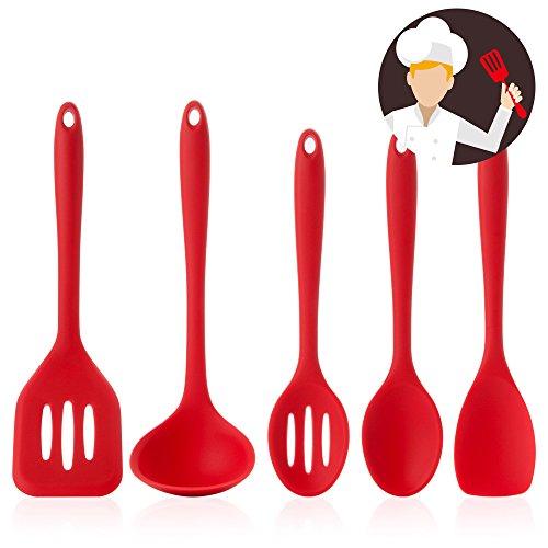 FOXAS® 5er Set Küchenhelfer Silikon beschichteten Kochgeschirr 5er set küchenhelfer silikon beschichtetes kochgeschirr Kochlöffel(rot)