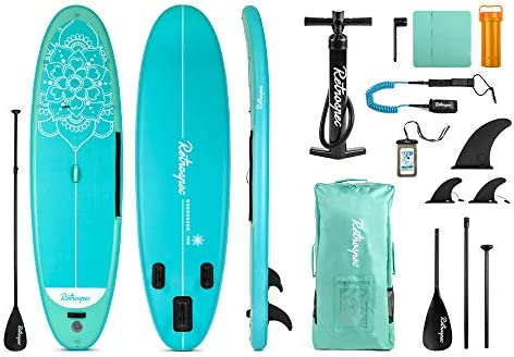 Retrospec Weekender-Yogi 10 Extra Wide Inflatable Stand Up Paddleboard Triple Layer Military Grade PVC iSUP Bundle w paddle board carrying case, aluminum paddle, removable fins, pump phone case