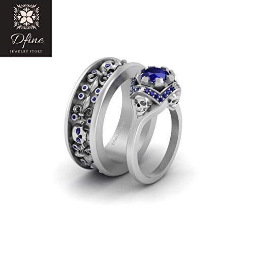 Blue Sapphire Gothic Skull Couple Rings Fleur De Lis Band Matching Wedding Band Set Solid 14k White Gold