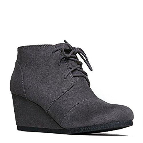 J. Adams Wedge Stiefelette - Low Heel Bootie - Lässige bequeme Schnür-Ferse - Fashion Short Heeled Damen Bootie Holzkohle Imsu
