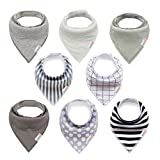 ALVABABY Bandana Drooling Bibs Resuable Adustable for Boys&Girls 8 Pack of Super Absorbent Baby Gift Sets 8SD05