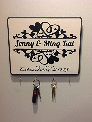 Personalized Wedding Gift for Couples Established Sign Plaque Key Holder Engagement Gift Bridal Shower Gift Anniversary Gift Newlywed Gift (Sawtooth Monogram)
