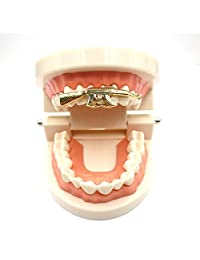 Gold Grillz Best Gift for Son-New Custom Fit 14k Plated Gold, Silver, Grillz - Excellent Cut for All Types of Teeth - AK47 Shape- Hip Hop Bling Grillz