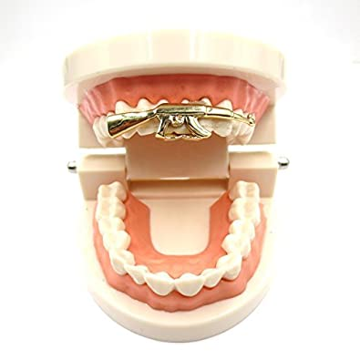 Amazon.com  Gold Grillz for Son-New Custom Fit 14k Plated Gold ... 2e028f2821