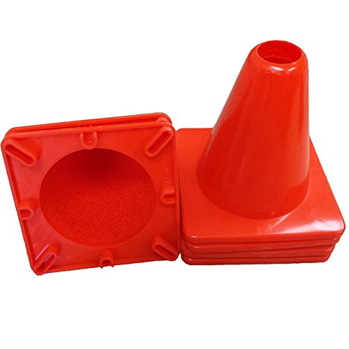 Workoutz Heavy Duty Orange Rubber Cones (6 Qty) for Sport Safety Racing Traffic (6 Inch Tall Cones (6 Qty))