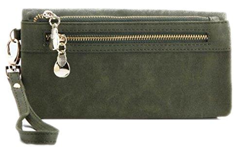 Yosohbag Women Wallets Dull Polish PU Leather Wallet Double Zipper Day Clutch Mo Green (Replica Louis Vuitton Purse)