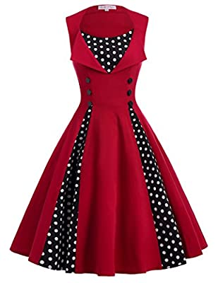 Belle Poque Sleeveless Polka Dots Patchwork Cocktail Party Swing Dress