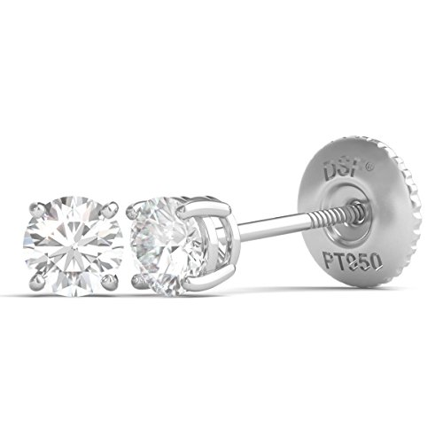 Diamond Studs Forever Platinum Solitaire Diamond Stud Earrings (1/3 Ctw, IGI USA Cert. EF/SI1-SI2) (Solitaire Diamond Platinum)