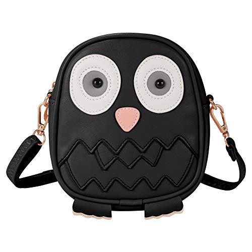 Kids Shoulder Bag Crossbody Purse Mini Cartoon Animal Preschool Messenger Handbag for Children Toddler Baby Girls Deekey (Owl Black)