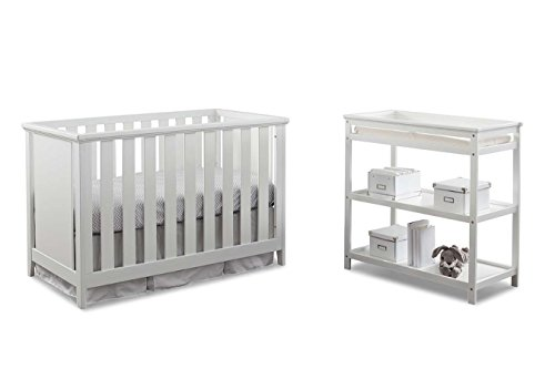 Imagio Baby Casey 3-in-1 Cottage Crib and Changer Set, White