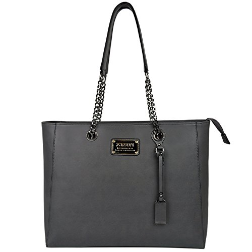 Laptop Tote,15.6 IN Top Zip Large Laptop Bag PU Leather Multi-Function Shoulder Bag with Sturdy Lengthen Chain-link Straps for Women Awesome Mother's Day Gift Double Handle Tote Bag