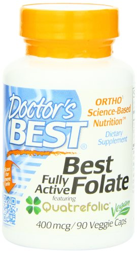 Doctor's Best Best Fully Active Folate 400mcg, 90 Count, Health Care Stuffs