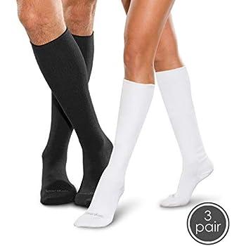 2122db21d3c SmartKnit Seamless Diabetic Over-The-Calf Socks- 3 Pack - Medium -  Black White White
