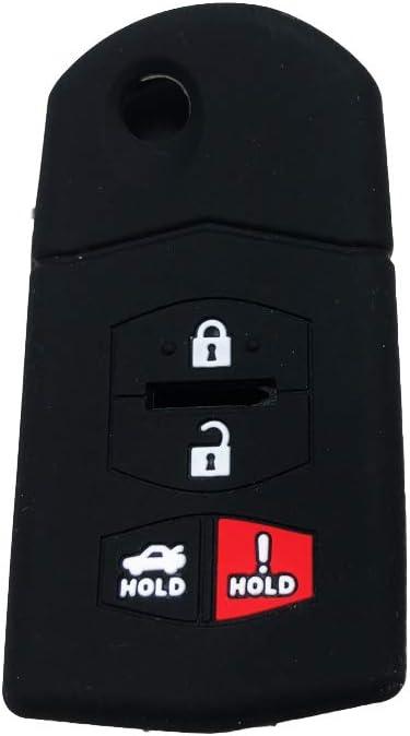 TG Auto 3+1 4 Buttons Silicone Rubber Key Fob Case Key Cover Key Jacket Skin Protector Fit For Mazda 3 6 MX-5 CX-9 Miata Mazda 6 RX-8 MX-5 MIATA Black