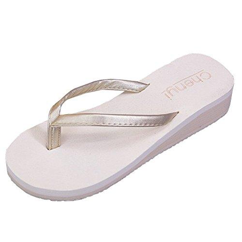 lisianthus002Mujer Webbing Flip Flop Summer Wear cuña Thongs sandalias Blanco - blanco