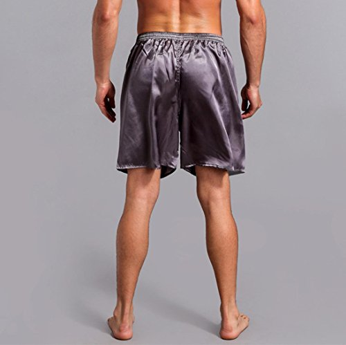 Pervobs Men Shorts Men's Shorts Silk Satin Pajama Sleepwear Homewear Robes Shorts Loungewear Underwear (2XL, Gray) by Pervobs Men Shorts (Image #2)