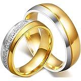 18K Gold Plated Titanium Steel Shining Diamond Wedding Gift Love Couple Ring Set Female us7 Male us9 cr16-1